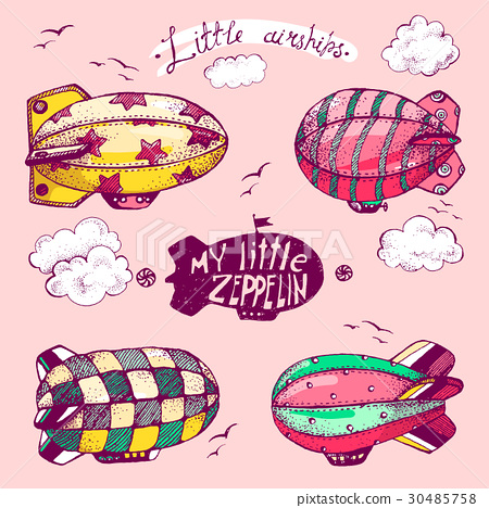 Hand drawn vector vintage collection of cute 30485758