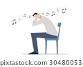 Man Sitting on a Chair Covering His Ears. 30486053
