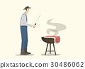 Farmer Cooking Big Steak on Barbecue 30486062