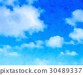 blue sky, water color, watercolor 30489337