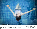 beautiful woman swimming on the swimming pool. 30491522