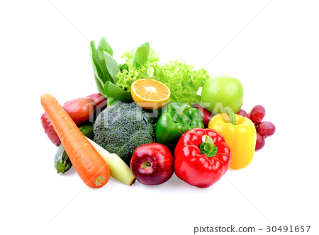 fruit and vegetable on white background 30491657