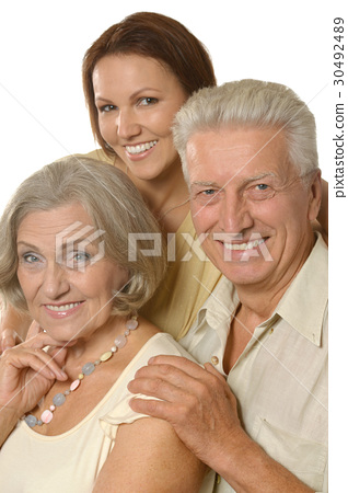 Elderly parents and their adult daughter 30492489