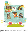 Cute animals traveling by bus 30492663