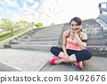healthy lifestyle young woman runner running on sunrise 30492676