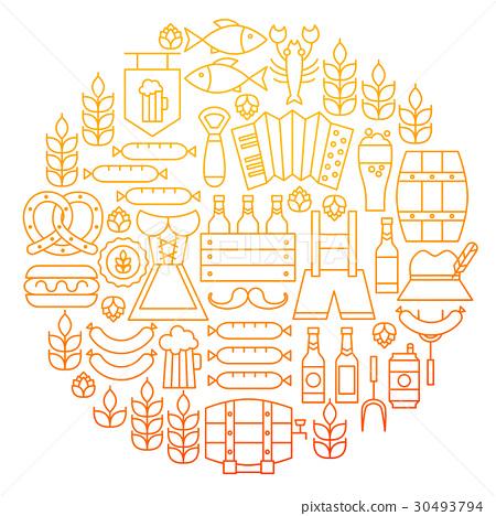 Oktoberfest Line Icon Circle Design 30493794