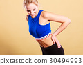Fit woman suffering from back pain 30494993