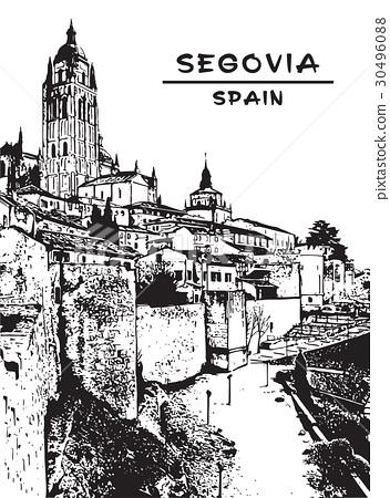 Panorama of  Segovia,Spain. Vector illustration. 30496088
