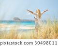 Free Happy Woman Enjoying Sun on Vacations. 30498011