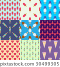 Set ice cream seamless pattern background cartoon 30499305