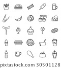 Fast food line icons on white background 30501128