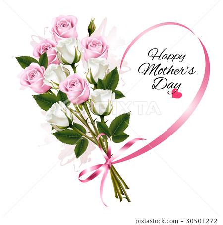 Happy Mother's Day note with colorful roses 30501272