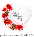 Happy Mother's Day note with colorful flowers 30501273