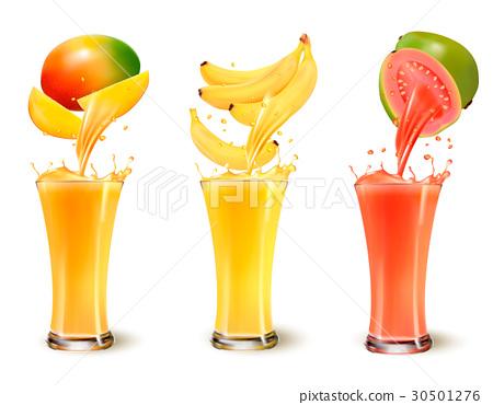 Set of fruit juice splash in a glass.  30501276