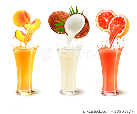 Set of fruit juice splash in a glass.  30501277