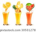 Set of fruit juice splash in a glass.  30501278