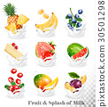Big collection of fruit in a milk splash. 30501298