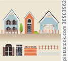 house exterior set icons vector illustration 30503562