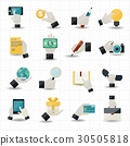 Hand touching business icons 30505818