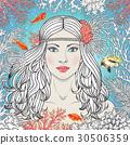 vector, mermaid, girl 30506359