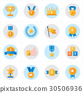Flat Icons Trophy and Prize Icons Vector 30506936