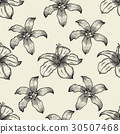 Black and white floral seamless pattern 30507468