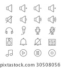 Music and Media Icons Line 30508056