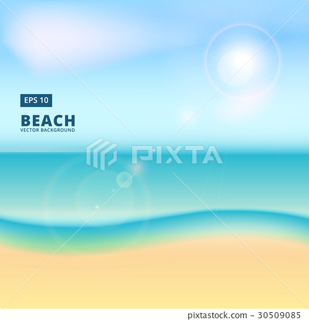 Blurry beach and blue sky with summer sun burst - Stock ...