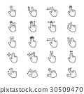 Hand Gesture Icons Line 30509470