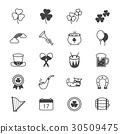 St Patricks Day Icons Line 30509475