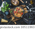 Spaghetti with tomato and basil and ingredients 30511963