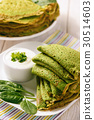 Spinach green pancakes (crepes) with sour cream. 30514603