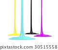 CMYK inks dripping on white background 30515558