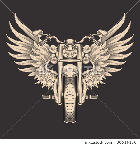 Vector monochrome illustration of motorcycle with 30516130