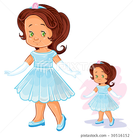 Vector clip art illustration with young girl in 30516152
