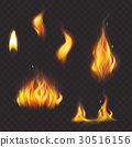 Set of realistic flame tongues isolated on a dark 30516156
