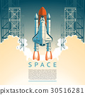 Illustration of a flat style rocket takes 30516281