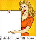 Pop art girl showing ads 30516443