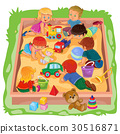 Little boys and girls sitting in the sandbox, play 30516871