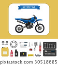 Motorcycle with parts in flat style. 30518685