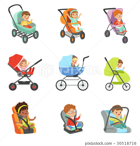 Baby carriage set. Children transport colorful 30518716
