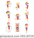Cute happy boys doing sports set. Activity kids 30518720
