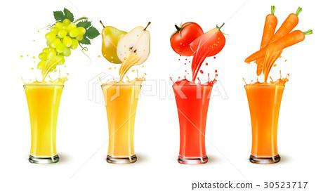 Set of fruit juice splash in a glass.  30523717