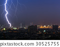 Dramatic thunder storm lightning bolt 30525755