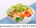 muesli with yogurt and fresh fruit 30527466