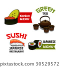 Vector icons of sushi for Japanese restaurant menu 30529572