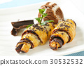 chocolate croissants with ice cream 30532532