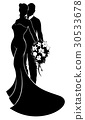 Bride and Groom Flowers Wedding Silhouette 30533678