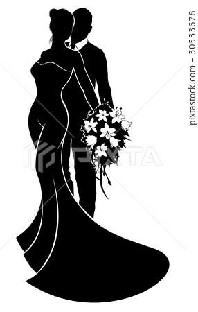 Bride and Groom Flowers Wedding Silhouette 30533678