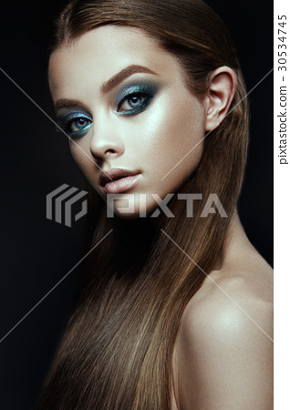 Fashion model Woman with fantasy make up. Long 30534745
